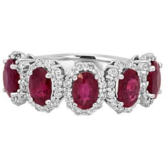 Natural Burma Ruby Oval Diamond Halo Gold Band Ring