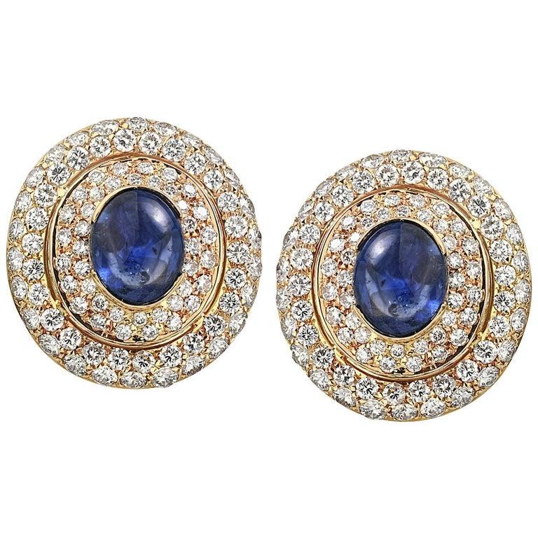 David Webb 1970s Cabochon Sapphire Diamonds Earrings