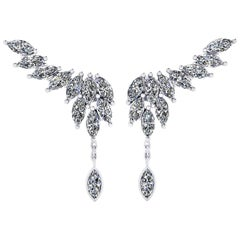 2.75 Carat Marquise Diamonds 18 Karat White Gold Wing Dangling Earrings