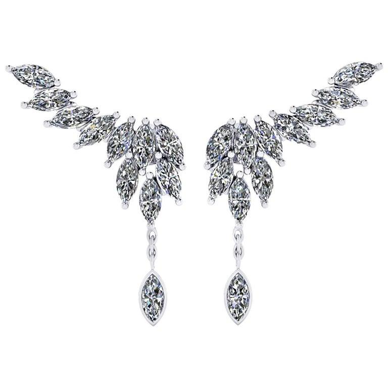 Ferrucci 2.75 Carat Marquise Diamonds 18 Karat White Gold Wing Dangling Earrings