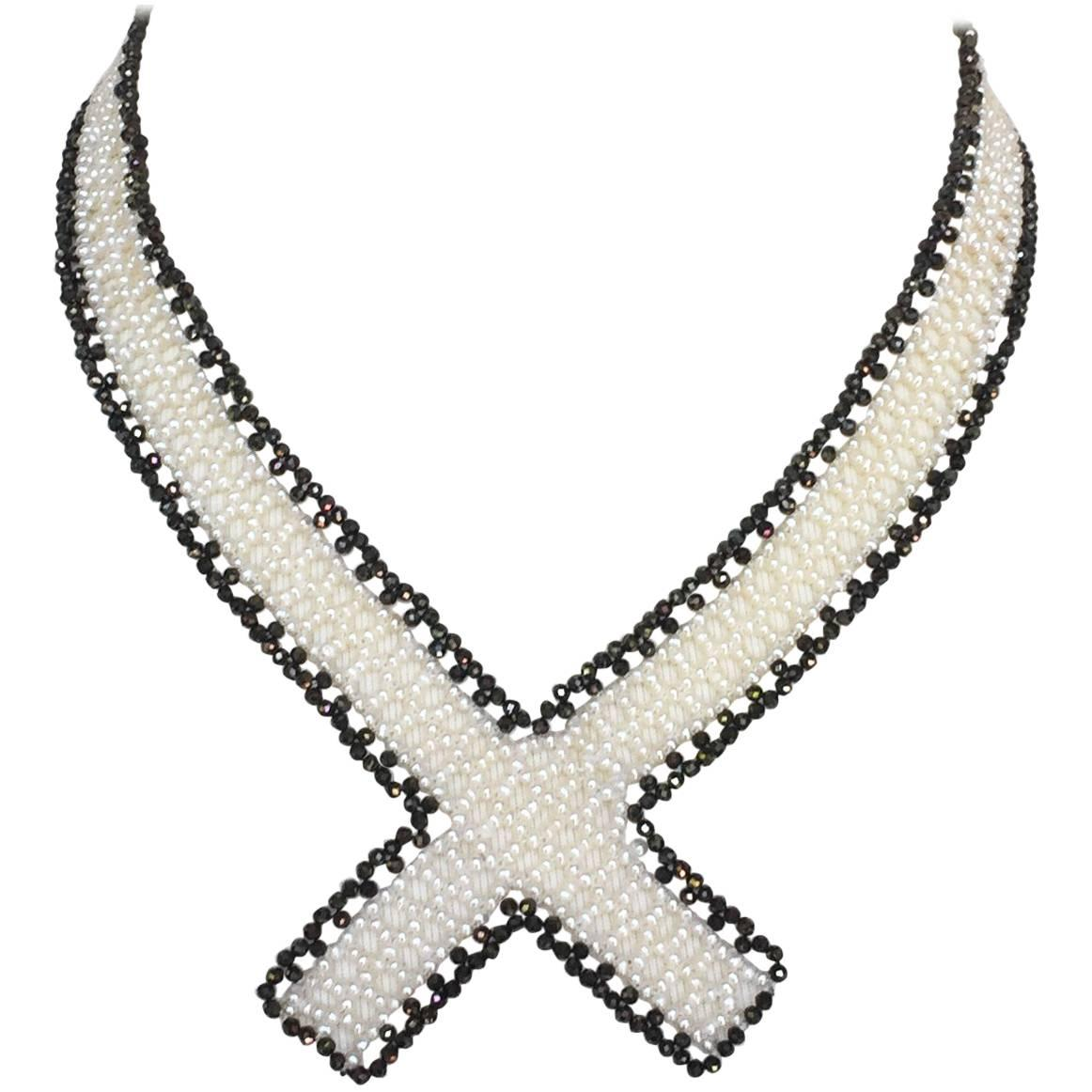 Marina J White Woven Pearl and Black Spinel Collar Necklace with Sliding Clasp