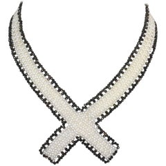 Marina J White Pearl and Black Spinel Collar Necklace with Sliding Clasp