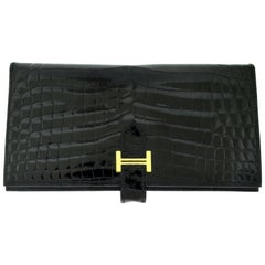 Hermès Bearn Black Alligator Crocodile Skin Two Fold Wallet