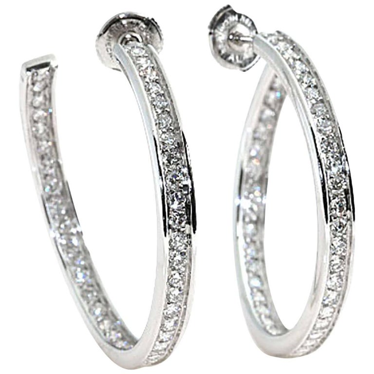Cartier 18 Karat White Gold Diamond Hoops, Double Sided