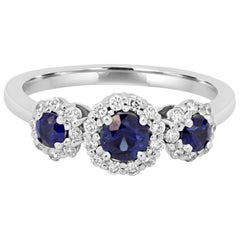 Blue Sapphire Diamond Halo Gold Band Ring