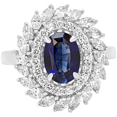GIA Certified Blue Sapphire Diamond Double Halo Gold Fashion Cocktail Ring