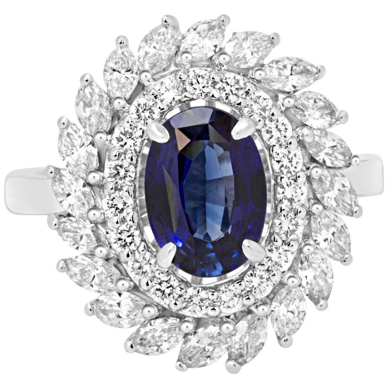 GIA Certified Blue Sapphire Diamond Double Halo Gold Fashion Cocktail Ring For Sale