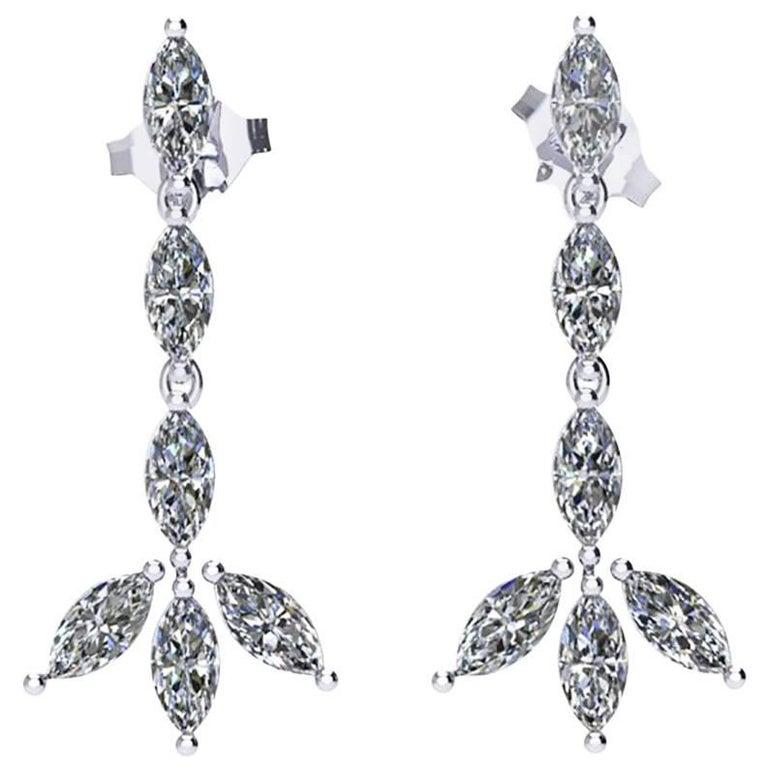 Ferrucci 1.24 Carat Marquise Diamonds Dangling Platinum Handmade Earrings