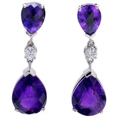 Amethyst Diamond Gold Earrings