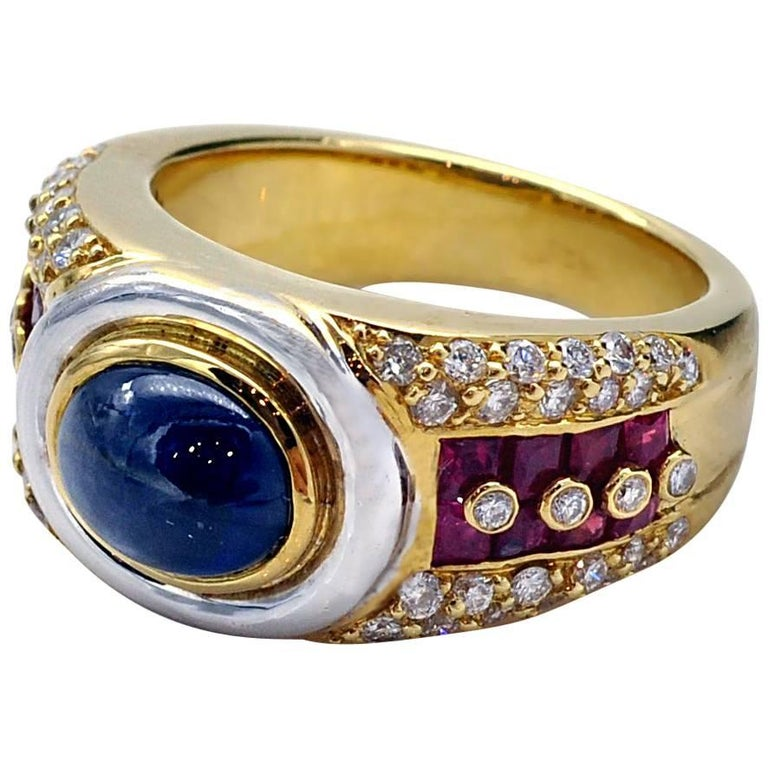 Sapphire Ruby Diamond Gold Ring For Sale