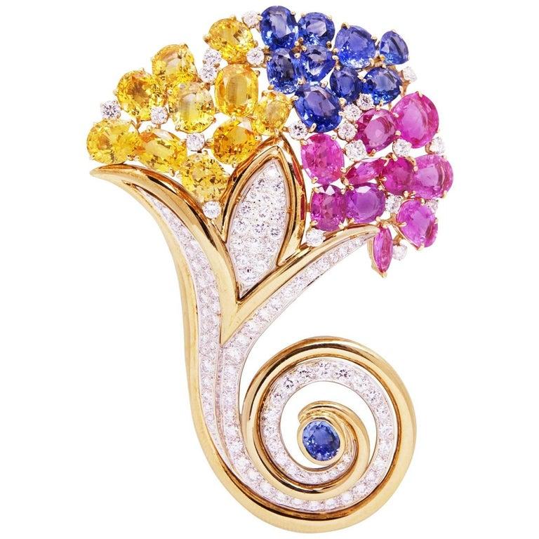 Ella Gafter Cornucopia Sapphire Diamond Yellow Gold Art Nouveau Style Brooch Pin