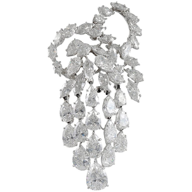 Harry Winston Pear and Marquise Diamond Brooch 1