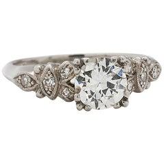 Vintage Engagement Ring Platinum 0.94 Carat Old European Cut G-VS1, circa 1930s