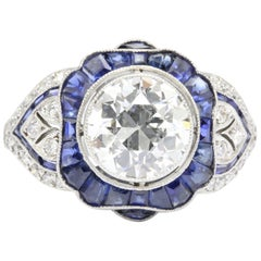 GIA 2.07 Carat Old European Cut Diamond Sapphire Ring