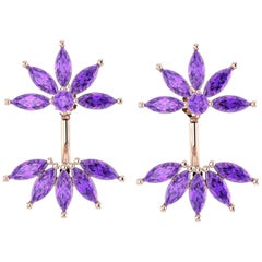 Ferrucci Marquise Amethyst Dangling Earrings Handmade in 18 Karat Rose Gold