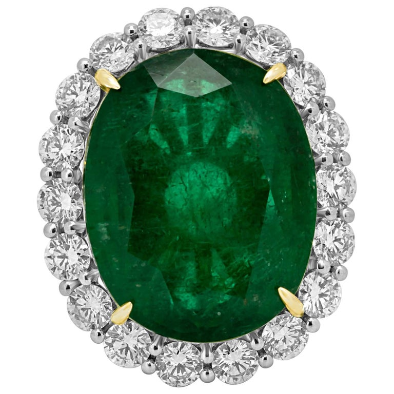GIA Certified 19.78 Carat Zambian Emerald Diamond Halo Two Color Gold Ring For Sale