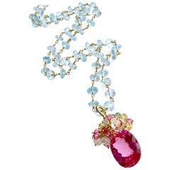 Blue Topaz Pink Topaz Emerald Citrine Cluster Necklace