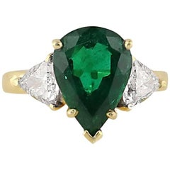 4.29 Carat Pear Shape Emerald Diamond Ring