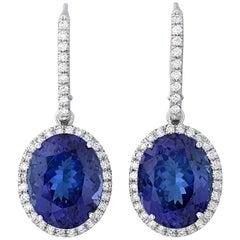 Tanzanite Drop Earrings, 17.79 Carat