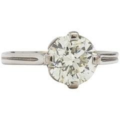 Vintage Engagement Ring Platinum 2.01 Carat Old European Cut J-VS1, circa 1920s