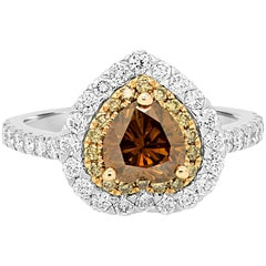 Natural Champagne Diamond Double Halo Two Color Gold Ring