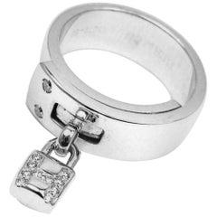 "Hermes ""H"" Lock Diamond White Gold Band Ring"