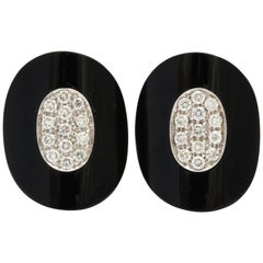 Modern Onyx Diamond Earrings with Clips