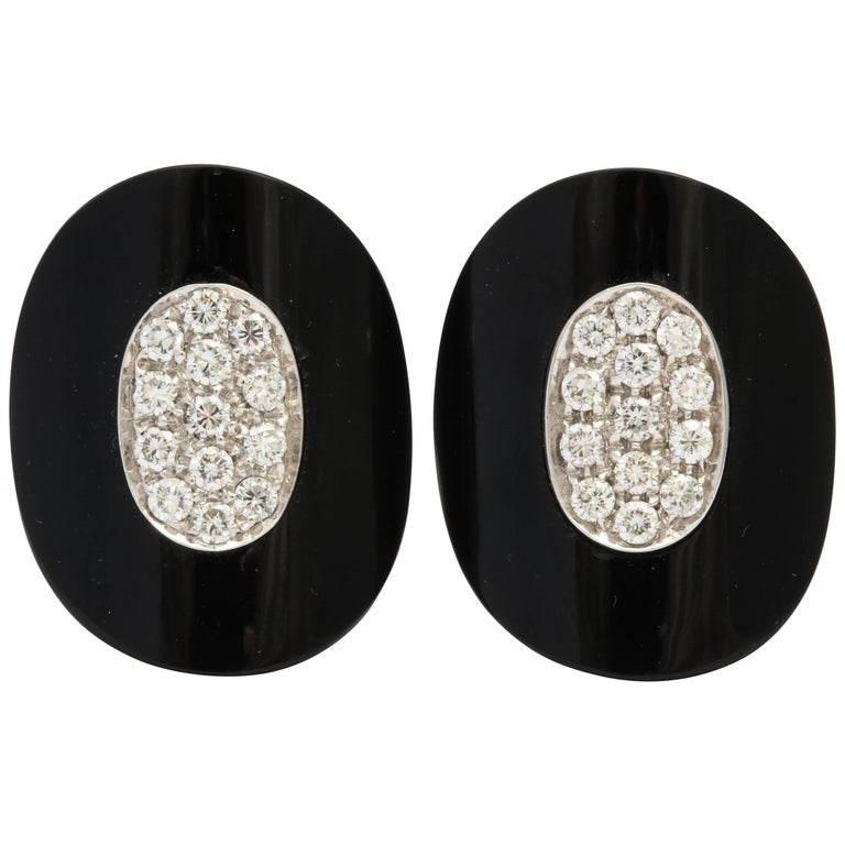Modern Onyx Diamond Earrings with Clips For Sale