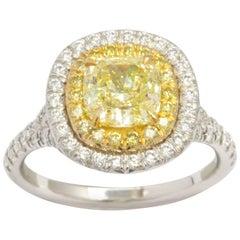 GIA Certified Cushion Cut Yellow Diamond Ring