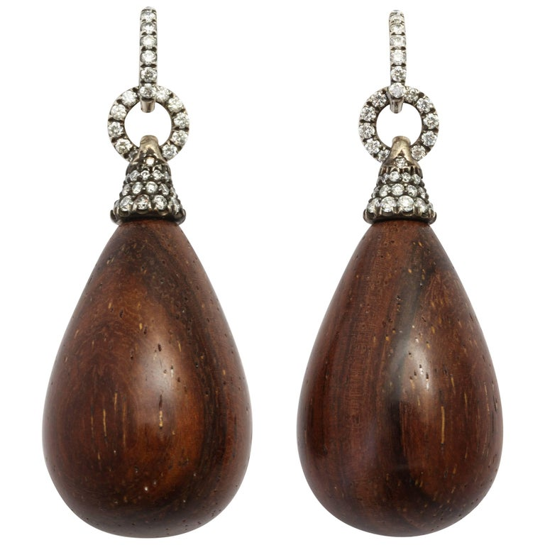 Donna Vock Antiqued Silver-topped Gold Nut Wood and Diamond Earrings with Clips
