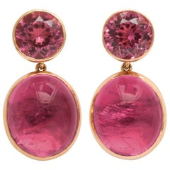 Donna Vock Rose Gold, Pink Tourmaline and Rubelite Earrings