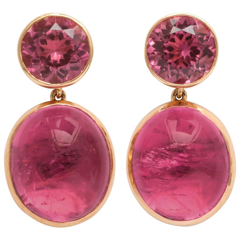 Donna Vock Rose Gold, Pink Tourmaline and Rubelite Earrings For Sale