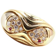 Bulgari Naturalia Diamond Ruby Fish Yellow Gold Band Ring
