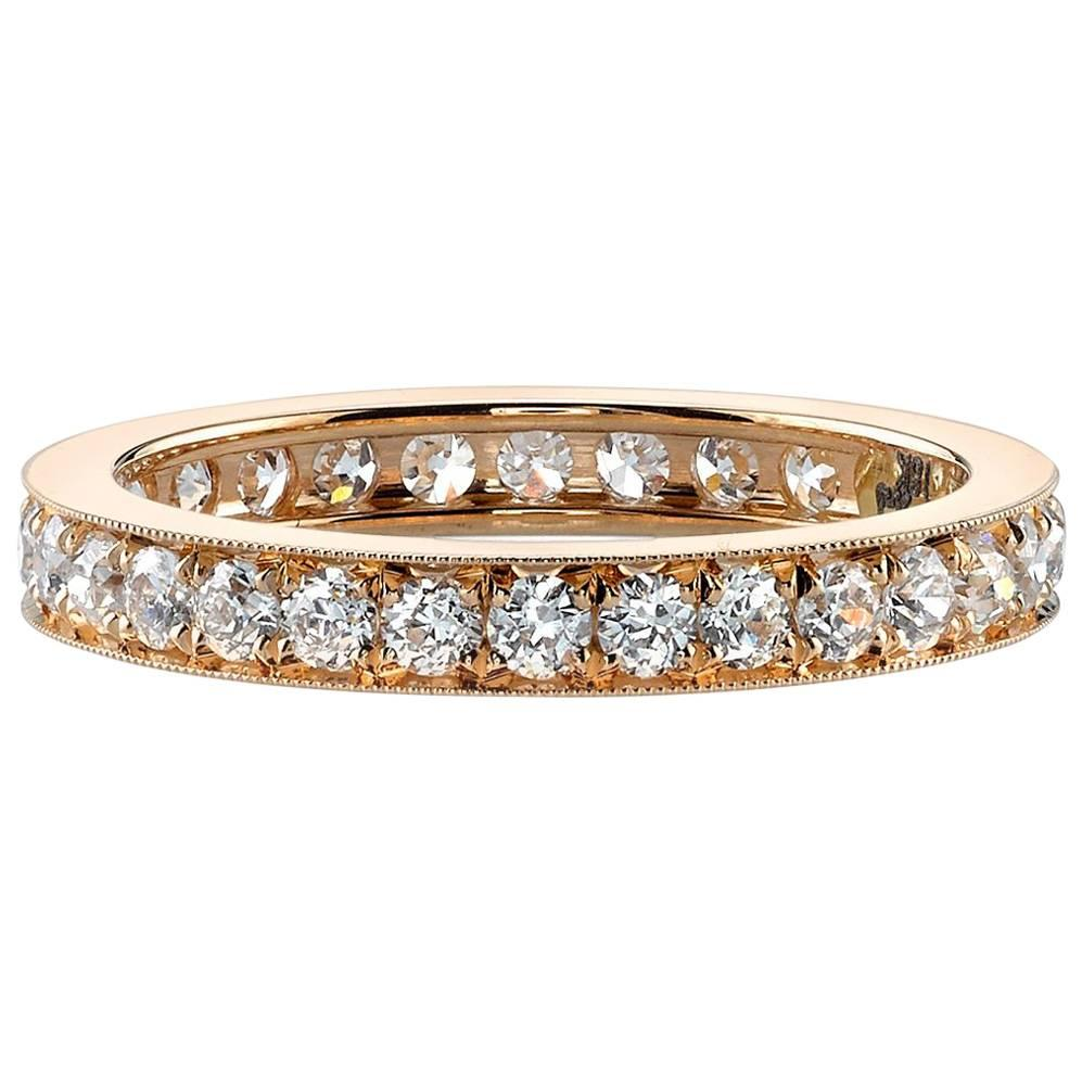 Approx. 1.00 Carat Old European Cut Channel Set Diamonds in a Gold Eternity Band
