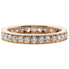 Handcrafted 18k Gold Old European Cut Diamond Eternity Band