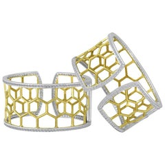 Large Green Gold Sterling Honeycomb Diamond Cuff Bracelet