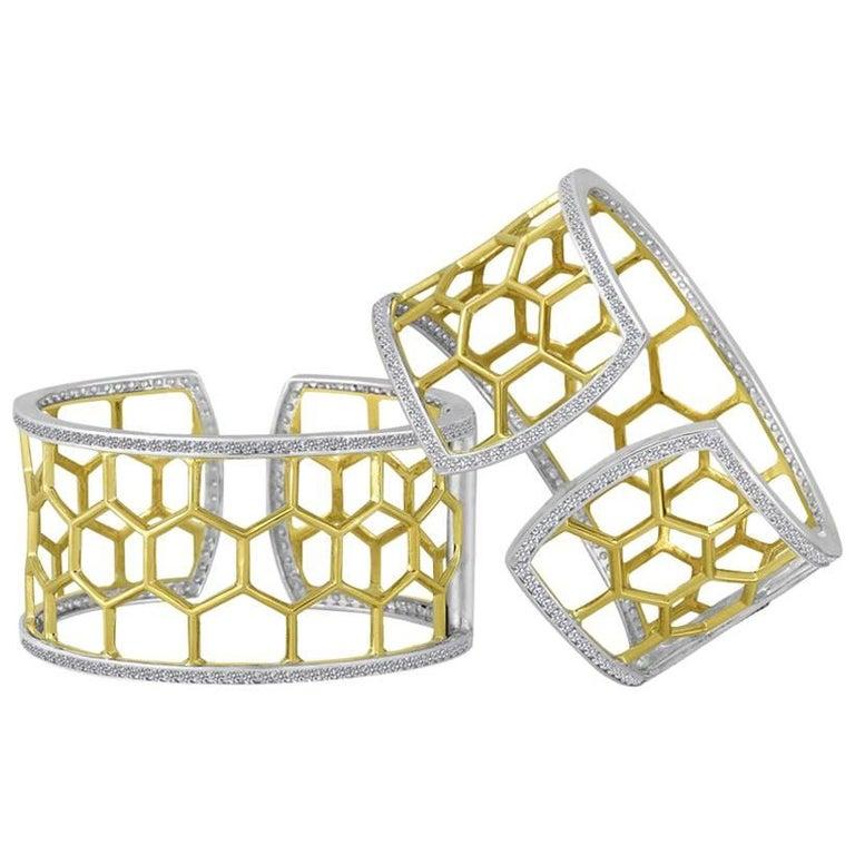 Large Green Gold Sterling Honeycomb Diamond Cuff Bracelet