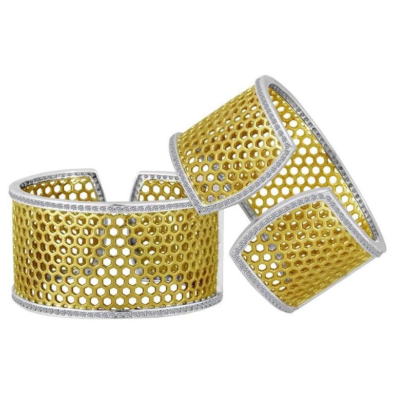 Green Gold Sterling Honeybee Diamond Cuff Bracelet