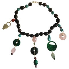 Ebony Forever Necklace Gold Rose Quartz Antique Jade Turquoise