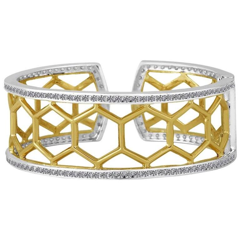 Green Gold Sterling Honeycomb Diamond Cuff Bracelet