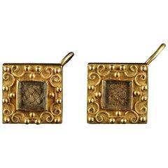 Antique Georgian Mourning 18 Carat Gold Earrings, circa 1800