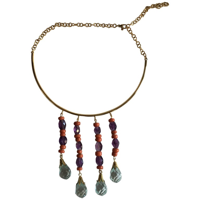 Coral Amethyst Gold Aquamarine Little Fringe Necklace