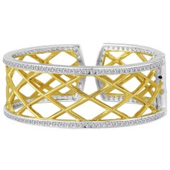 Green Gold Sterling Silver Diamond Cuff Bracelet