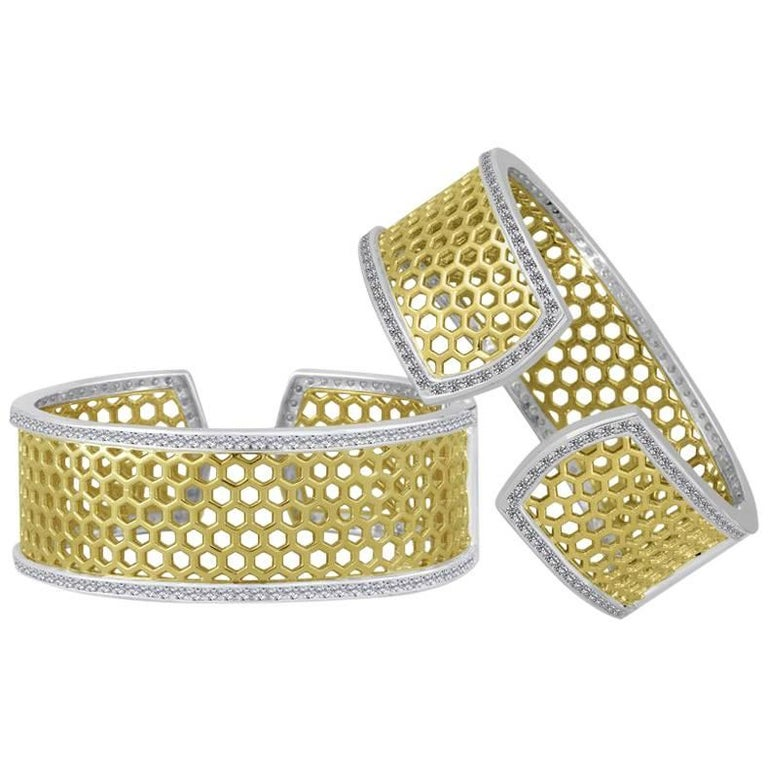 Medium Green Gold Sterling Honeybee Diamond Cuff Bracelet