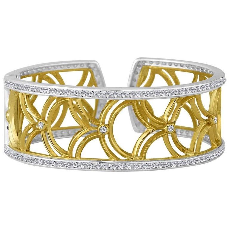 Gold Sterling Honeyfan Diamond Cuff Bracelet