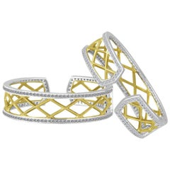 Green Gold Sterling Diamond Cable Cuff Bracelet