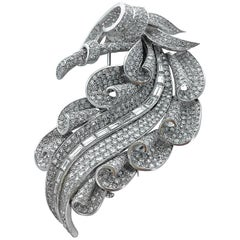 1950s French Diamond and Platinum Leaf Brooch