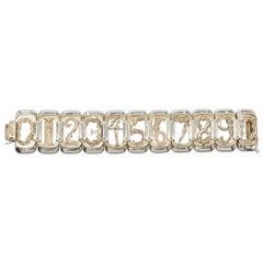 Erte Art Deco Large Vermeil Sterling Silver Figural Numbers Bracelet