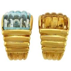 Multi-Gemstone, Blue Topaz and Citrine 18 Karat Yellow Gold Clip-On Earrings