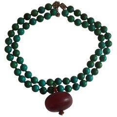 Turquoise Amber Silver Gold Changcha Necklace
